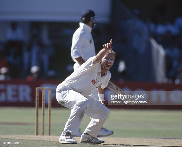 Allan Donald of South Africa traps England batsman Graeme Hick LBW for 62 runs during the 4th Test match between South Africa and England at St...