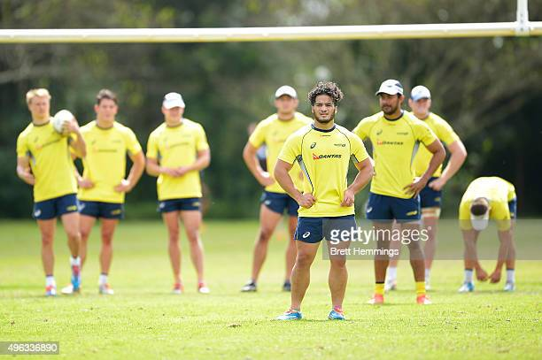 Allan Fa'alava'au looks on during an Australian men's rugby sevens training session at Sydney Academy of Sport on November 9 2015 in Sydney Australia