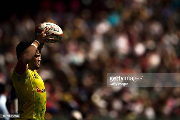 Allan Fa'Alava'Au of Australia in action during the Australia vs England HSBC Sevens World Series Plates Semi Finals match as part of the Hong Kong...