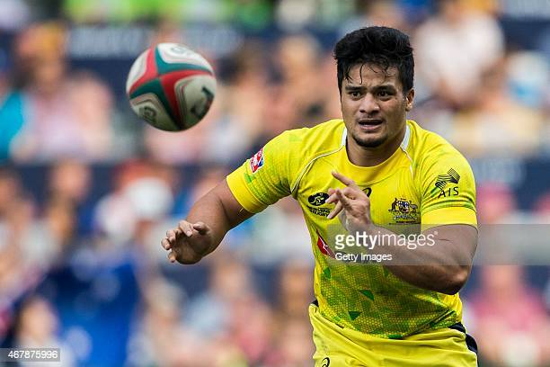 Allan Fa'Alava'Au of Australia in action during the Hong Kong Sevens match between New Zealand and Australia as part of the HSBC Sevens World series...
