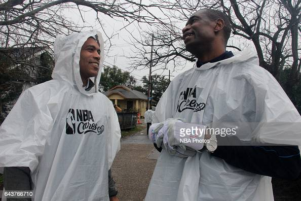 Allan Houston and Dikembe Mutombo participates during the NBA Cares Day of Service as part of 2017 AllStar Weekend at the KaBOOM Rebuilding Together...