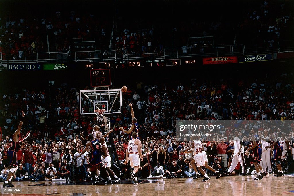 Allan Houston of the New York Knicks drives through the lane for a lastsecond game and serieswinning shot against the Miami Heat during the first...