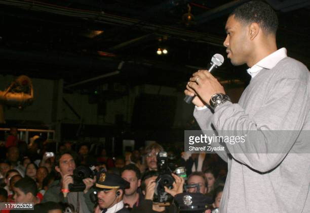 Allan Houston of The New York Knicks during New York Knicks 2004 Christmas Carnival Featuring Fat Joe and Ja Rule at Intrepid in New York City New...