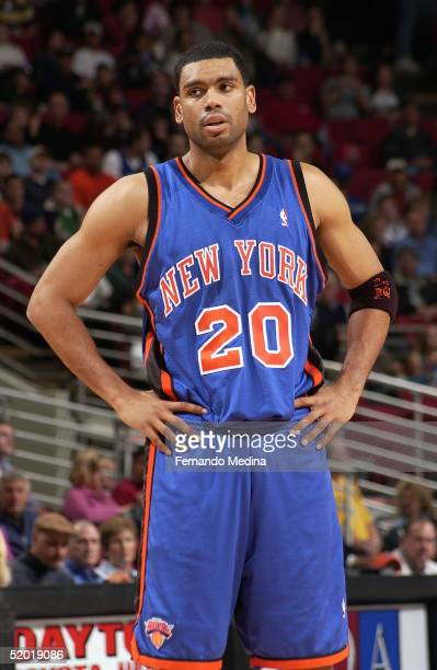 Allan Houston of the New York Knicks looks on while facing the Orlando Magic December 27 2004 at TD Waterhouse Centre in Orlando Florida The Knicks...