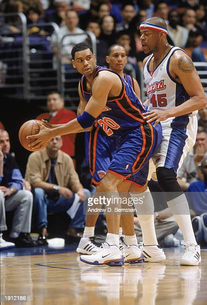 Allan Houston of the New York Knicks posts against Sean Rooks of the Los Angeles Clippers during the game at Staples Center on April 5 2003 in Los...