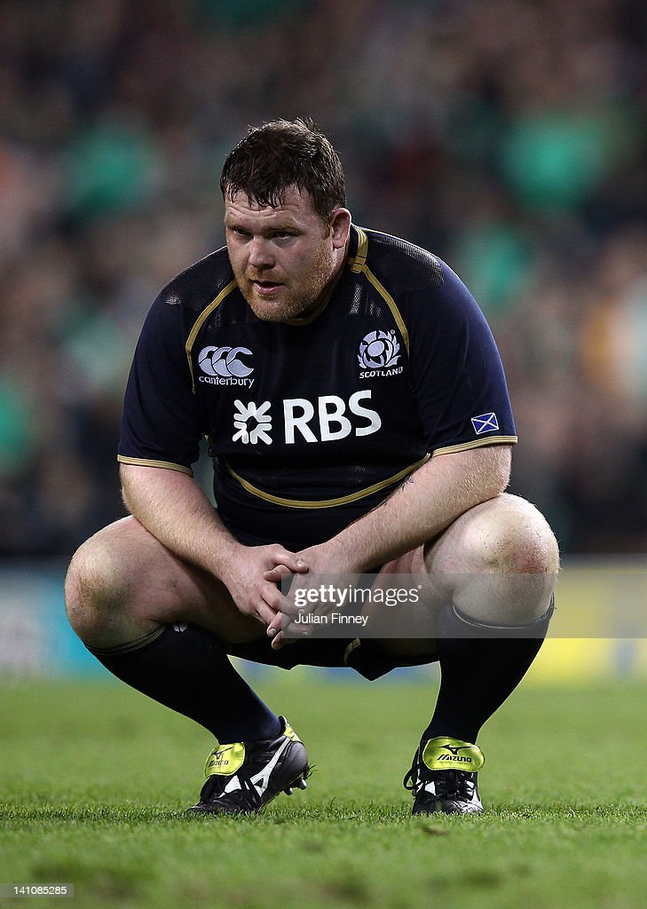 Allan Jacobsen of Scotland looks dejected after the RBS Six Nations match between Ireland and Scotland at Aviva Stadium on March 10, 2012 in Dublin, Ireland.