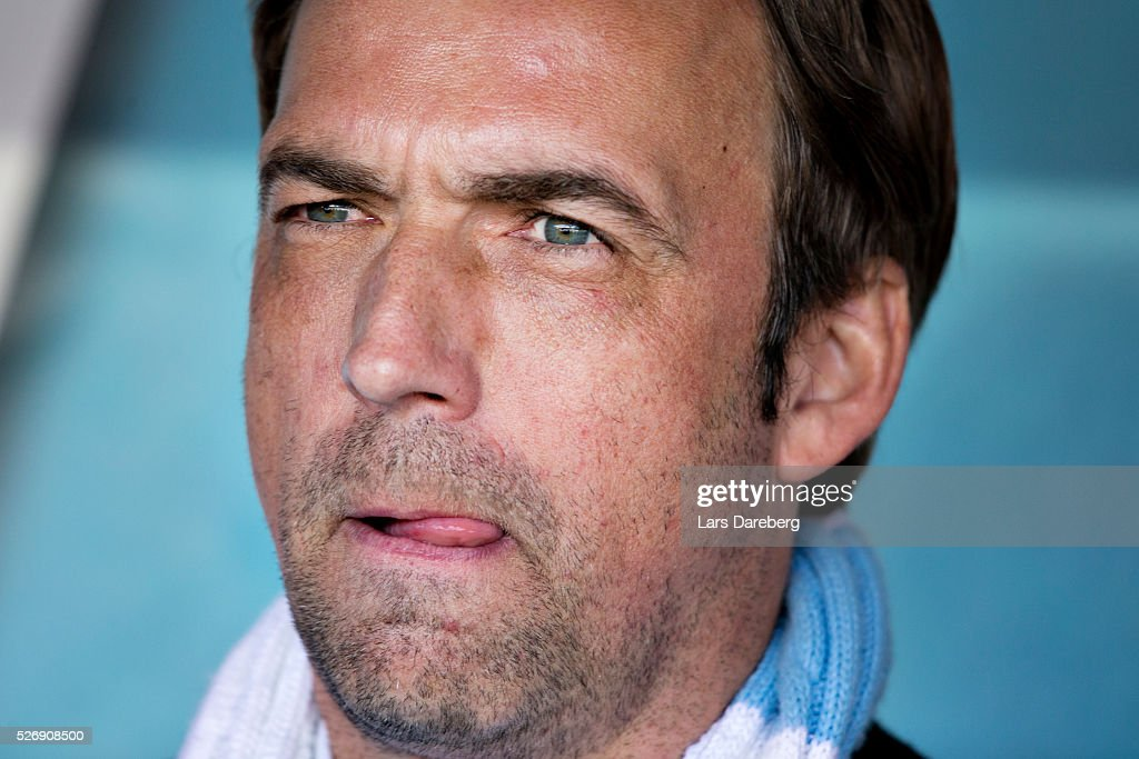 Allan Kuhn head coach of Malmo FF during the Allsvenskan match between Malmo FF and BK Hacken at Swedbank Stadion on May 1, 2016 in Malmo, Sweden.