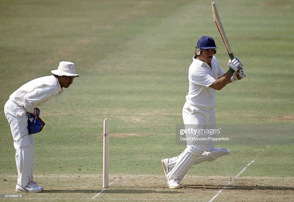 Allan Lamb batting for England on the first day of the 1st Test Match between England and India at Lord's Cricket Ground in London, 26th July 1990. Lamb scored 139 runs. The Indian wicketkeeper is Kiran More. England won by 247 runs.
