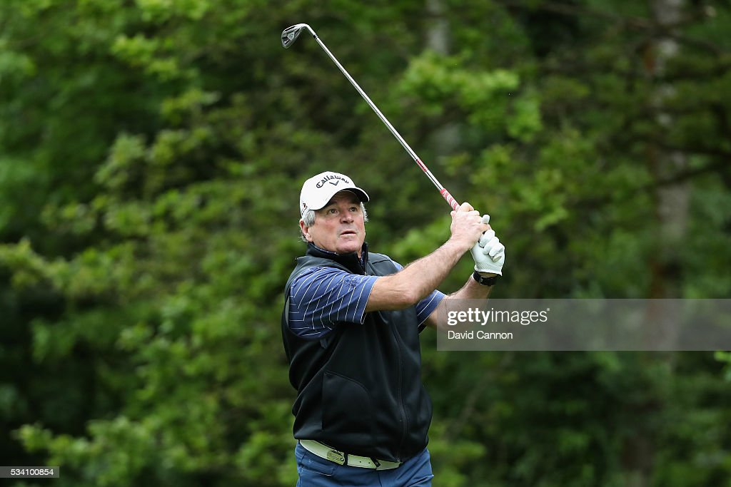 Allan Lamb tees off during the Pro-Am prior to the BMW PGA Championship at Wentworth on May 25, 2016 in Virginia Water, England.