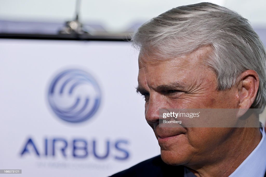 Allan McArtor, chairman of Airbus Americas, attends the groundbreaking ceremony for the Airbus Assembly Line Mobile facility in Mobile, Alabama, U.S., on Monday, April 8, 2013. Airbus SAS will probably seek some flexibility from its largest customers on delivery of the A320neo single-aisle jet to help accommodate new buyers, as the company tries to work through a record order book for the plane. Photographer: Derick E. Hingle/Bloomberg via Getty Images