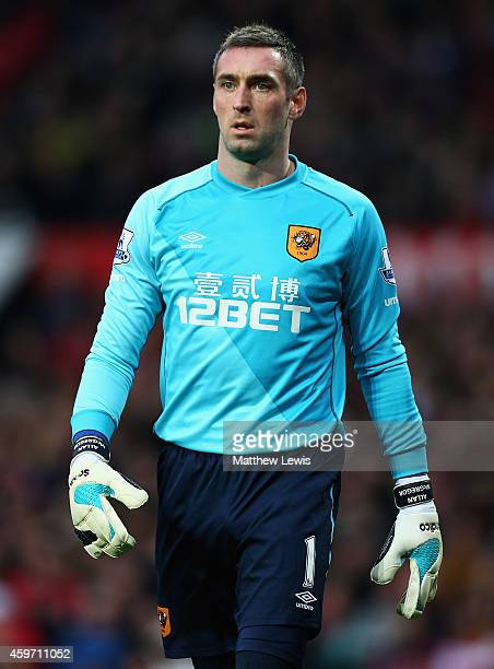 Allan McGregor of Hull City in action during the Barclays Premier League match between Manchester United and Hull City at Old Trafford on November 29...