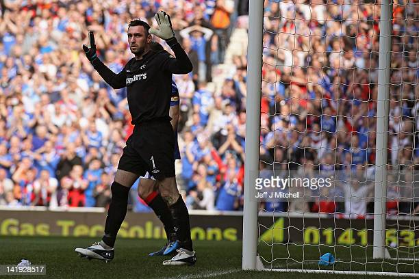 Allan McGregor of Rangers in action during the Scottish Clydesdale Bank Scottish Premier League match between Rangers and Celtic at Ibrox Stadium on...