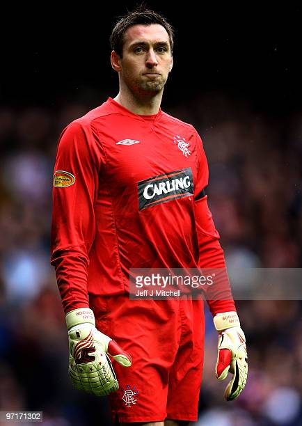 Allan McGregor of Rangers reacts during the Scottish Premier League match between Rangers and Celtic at Ibrox stadium on February 28 2010 in Glasgow...