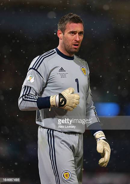 Allan McGregor of Scotland during the FIFA 2014 World Cup Group A qualifying match between Scotland and Wales at Hampden Park on March 22 2013 in...