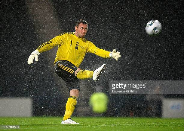 Allan McGregor of Scotland in action during the International Friendly Match between Scotland and Denmark at Hampden Park on August 10 2011 in...