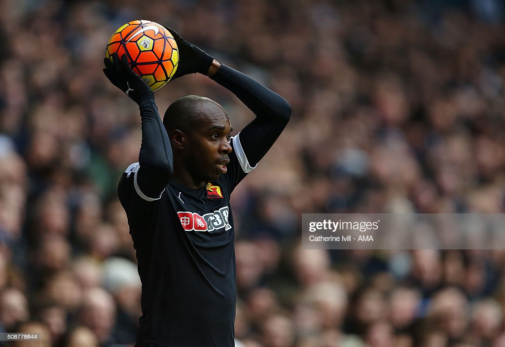 Allan Nyom of Watford takes a throw in during the Barclays Premier League match between Tottenham Hotspur and Watford at White Hart Lane on February 6, 2016 in London, England.