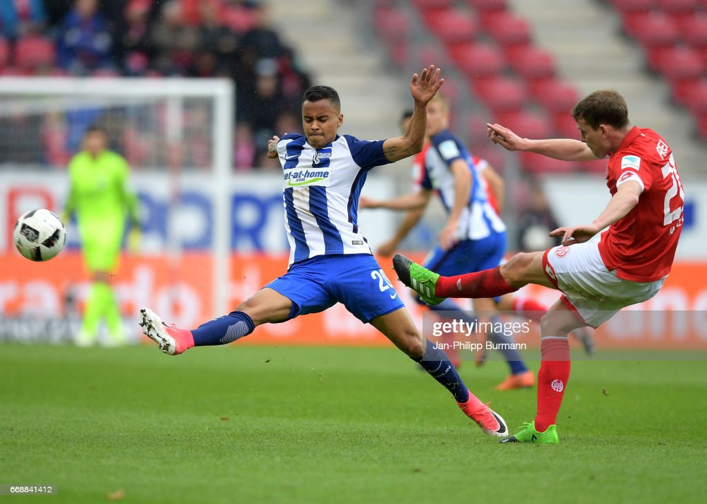 Allan of Hertha BSC and Fabian Frei of FSV Mainz 05 during the game between FSV Mainz 05 and Hertha BSC on april 15, 2017 in Mainz, Germany.