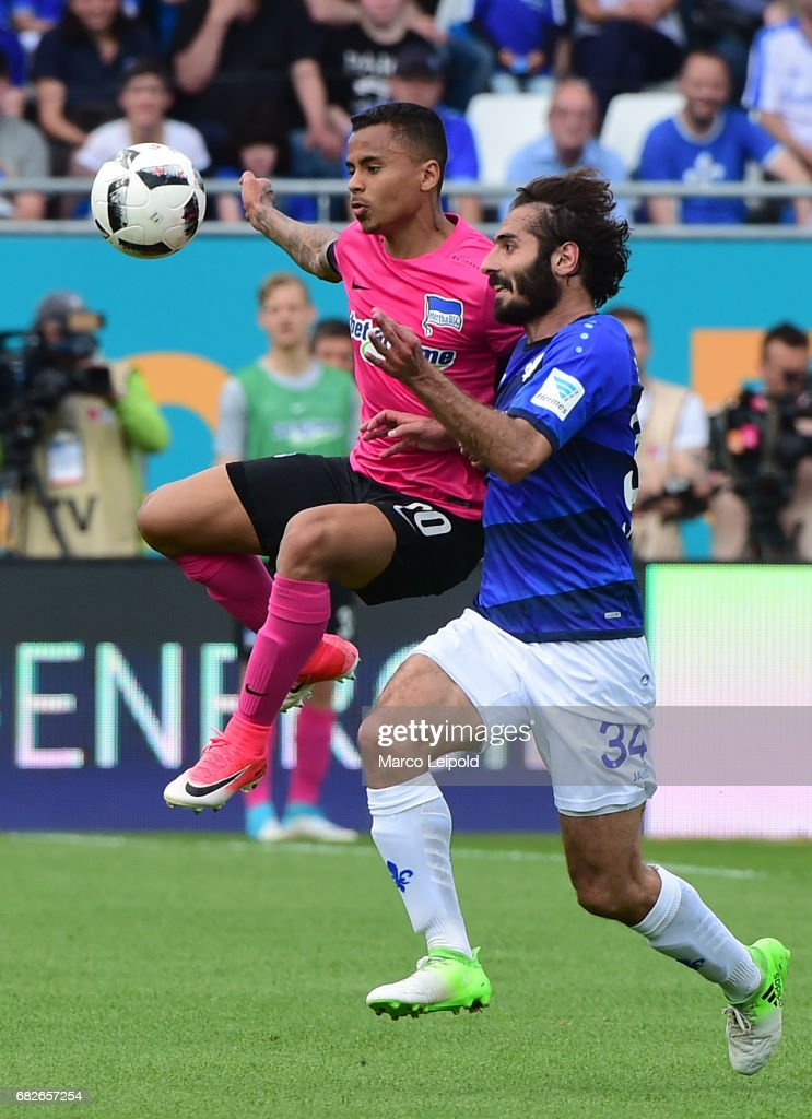 Allan of Hertha BSC and Hamit Altintop of SV Darmstadt 98 during the game between SV Darmstadt 98 and Hertha BSC on may 13, 2017 in Darmstadt, Germany.