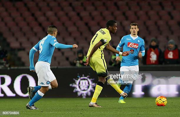 Allan of Napoli competes for the ball with Geoffrey Kondogbia of Inter during the TIM Cup match between SSC Napoli and FC Internazionale Milano at...