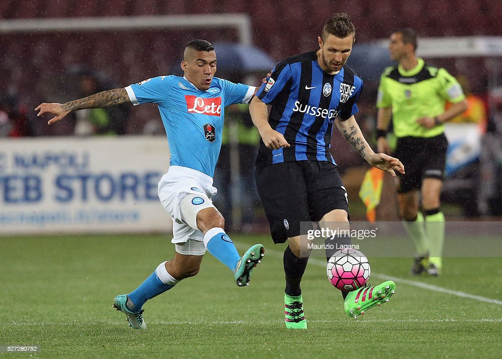 Allan (L) of Napoli competes for the ball with <a gi-track='captionPersonalityLinkClicked' href=/galleries/search?phrase=Jasmin+Kurtic&family=editorial&specificpeople=7418994 ng-click='$event.stopPropagation()'>Jasmin Kurtic</a> of Atalanta during the Serie A match between SSC Napoli and Atalanta BC at Stadio San Paolo on May 1, 2016 in Naples, Italy.