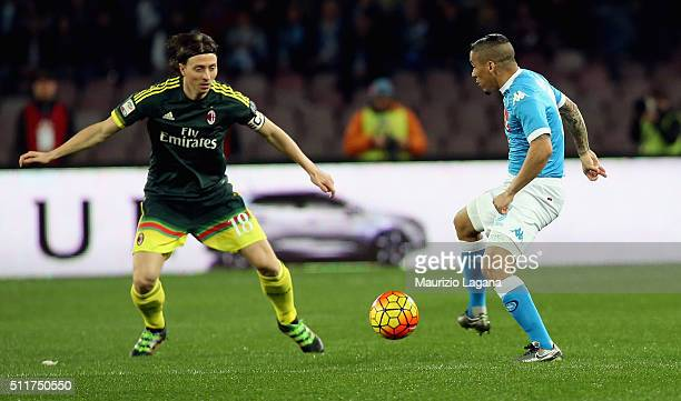 Allan of Napoli competes for the ball with Riccardo Montolivo of Milan during the Serie A between SSC Napoli and AC Milan at Stadio San Paolo on...