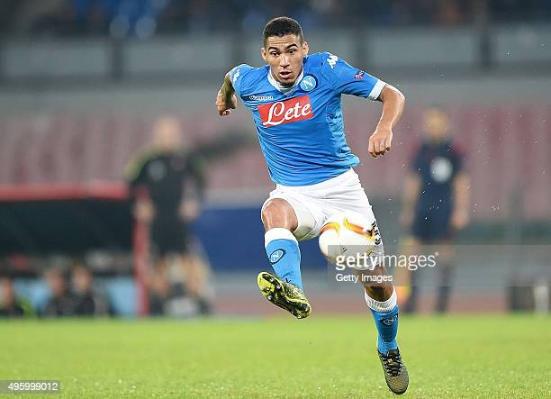 Allan of Napoli in action during the UEFA Europa League Group D match between SSC Napoli and FC Midtjylland at Stadio San Paolo on November 5 2015 in...