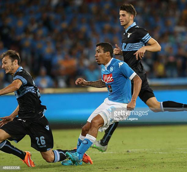 Allan of Napoli scores his team's second goal during the Serie A match between SSC Napoli and SS Lazio at Stadio San Paolo on September 20 2015 in...