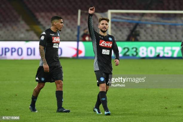 Allan of SSC Napoli and Dries Mertens of SSC Napoli during the Serie A TIM match between SSC Napoli and AC Milan at Stadio San Paolo Naples Italy on...
