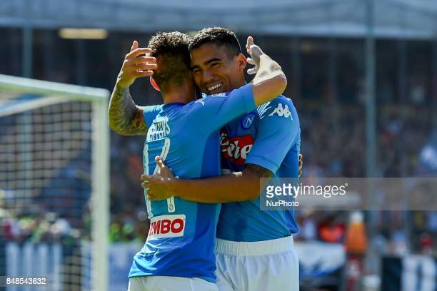 Allan of SSC Napoli celebrates after scoring during the Serie A TIM match between SSC Napoli and Benevento Calcio at Stadio San Paolo Naples Italy on...