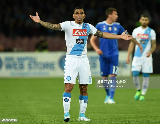 Allan of SSC Napoli in action during the Serie A match between SSC Napoli and Juventus FC at Stadio San Paolo on April 2 2017 in Naples Italy