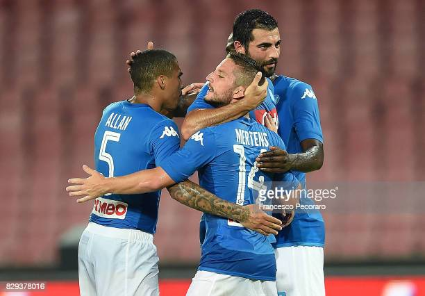 Allan Raul Albiol and Dries Mertens of SSC Napoli celebrate the 10 goal scored by Dries Mertens during the preseason friendly match between SSC...