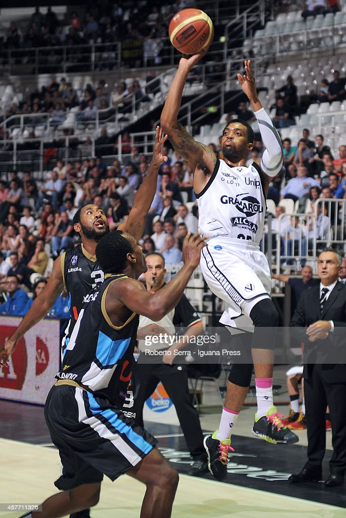 Allan Ray of Granarolo competes with Austin Freeman of Upea during the match between Granarolo Bologna and Upea Capo d'Orlandoe at Unipol Arena on...
