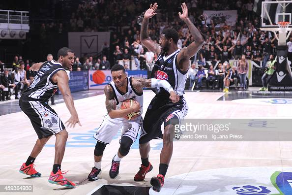 Allan Ray of Virtus of Granarolo competes with Ronald Moore and Richard Howell of Pasta Reggia during the LegaBasket Serie A1 basketball match...