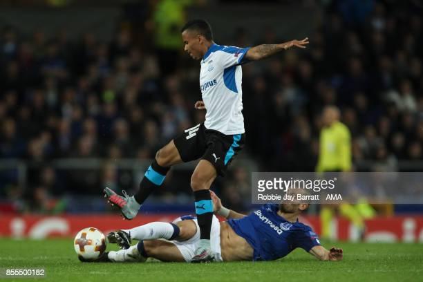 Allan Rodrigues De Souza of Apollon Limassol and Gylfi Sigurdsson of Everton during the UEFA Europa League group E match between Everton FC and...
