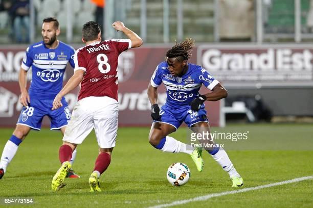Allan Saint Maximin of Bastia during the Ligue 1 match between Fc Metz and SC Bastia at Stade SaintSymphorien on March 17 2017 in Metz France