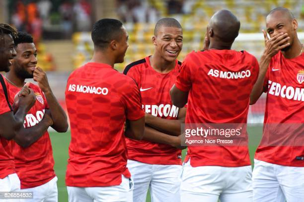 Allan Saint Maximin Thomas Lemar Youri Tielemans Kylian Mbappe and Fabinho of Monaco during the Ligue 1 match between AS Monaco and Toulouse at Stade...