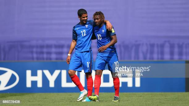 Allan SaintMaximin of France celebrates with Ludovic Blas after scoring his second goal during the FIFA U20 World Cup Korea Republic 2017 group E...