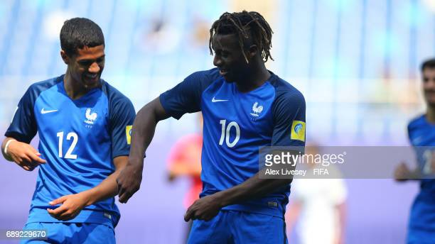 Allan SaintMaximin of France celebrates with Ludovic Blas after scoring his first goal during the FIFA U20 World Cup Korea Republic 2017 group E...