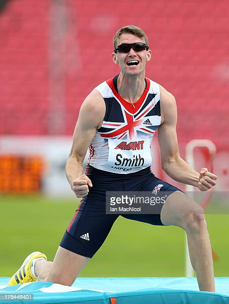 Allan Smith of Great Britain celebrates a jump during the Final of The Men's High Jump during day four of The European Athletics U23 Championships...