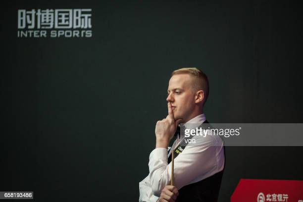 Allan Taylor of England reacts against Shaun Murphy of England on day one of 2017 China Open at Peking University Students Gymnasium on March 27 2017...