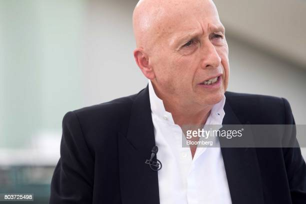 Allan Zeman chairman of Lan Kwai Fong Holdings Ltd speaks during a Bloomberg Television interview in Hong Kong China on Friday June 30 2017...