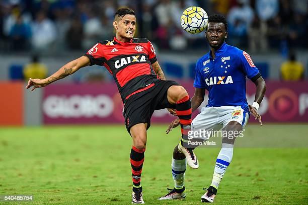 Allano of Cruzeiro and Everton of Flamengo battle for the ball during a match between Cruzeiro and Flamengo as part of Brasileirao Series A 2016 at...