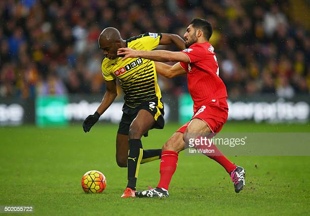 AllanRomeo Nyom of Watford holds off Emre Can of Liverpool during the Barclays Premier League match between Watford and Liverpool at Vicarage Road on...