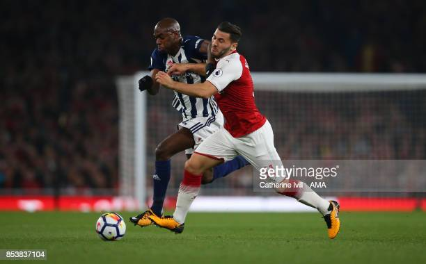 AllanRomeo Nyom of West Bromwich Albion and Sead Kolasinac of Arsenal during the Premier League match between Arsenal and West Bromwich Albion at...