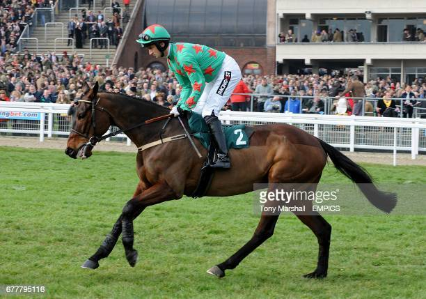 Allee Garde ridden by jockey Patrick Mullins going to post prior to the Diamond Jubilee National Hunt Chase during the Cheltenham Festival