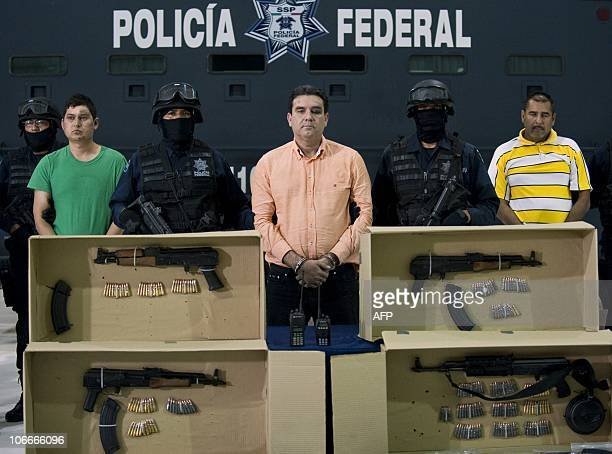 Alleged drug trafficker Manuel Fernandez Valencia aka 'La Puerca' and other members of the Sinaloa cartel are presented to the press in Mexico City...