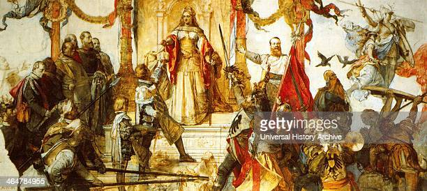 Allegorical painting showing a United Germany circa 1880 On right of the dais Emperor William I presents the Teutonic Knights to Germania In the...
