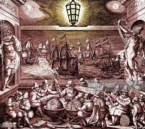 Allegorical presentation of Dutch Seamanship 18th century Tinted version