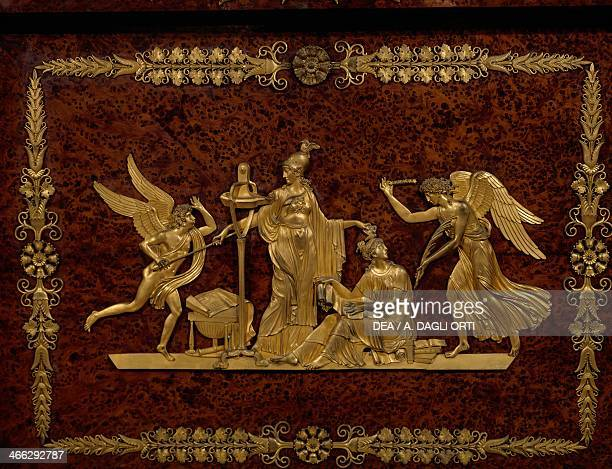 Allegorical scene gilt bronze applications on a mahogany secretary Italy 19th century