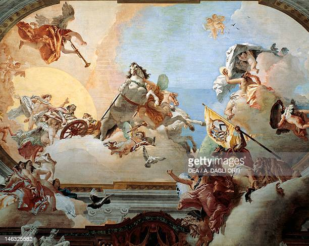 Allegory created for the marriage of Lodovico Rezzonico and the noble Venetian Faustina Savorgnan in 1758 by Giambattista Tiepolo fresco Ca...